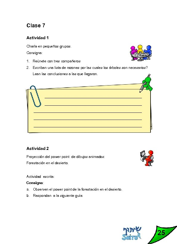 Clase 7 Actividad 1 Charla en pequeños grupos. Consigna: 1. Reúnete con tres compañeros