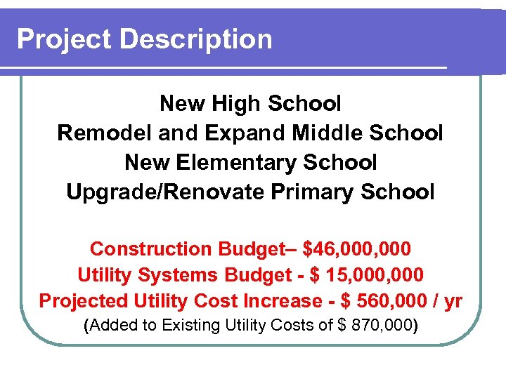 Project Description New High School Remodel and Expand Middle School New Elementary School Upgrade/Renovate