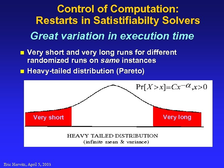 Control of Computation: Restarts in Satistifiabilty Solvers Great variation in execution time n n