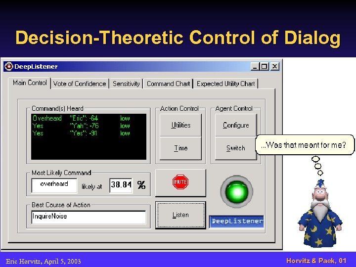 Decision-Theoretic Control of Dialog Eric Horvitz, April 5, 2003 Horvitz & Paek, 01