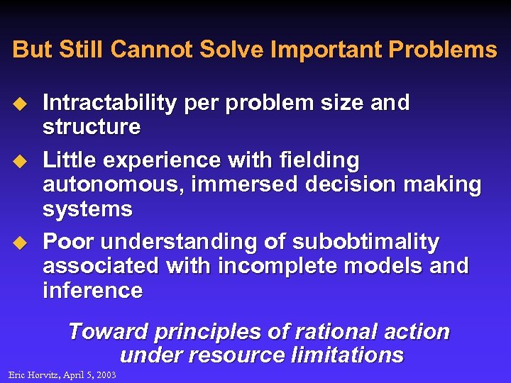 But Still Cannot Solve Important Problems u u u Intractability per problem size and