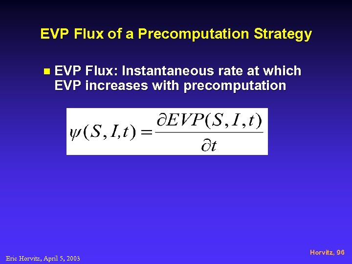 EVP Flux of a Precomputation Strategy n EVP Flux: Instantaneous rate at which EVP