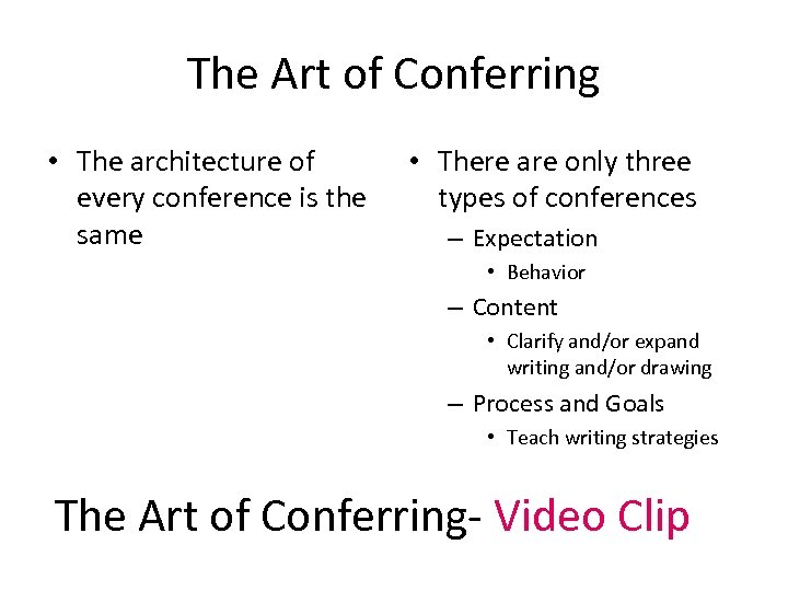 The Art of Conferring • The architecture of every conference is the same •
