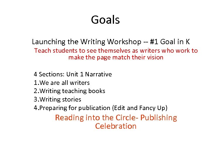 Goals Launching the Writing Workshop -- #1 Goal in K Teach students to see