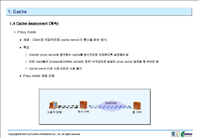 1. Cache 1. 4 Cache deployment (계속) v Proxy mode l 개념 : Client와