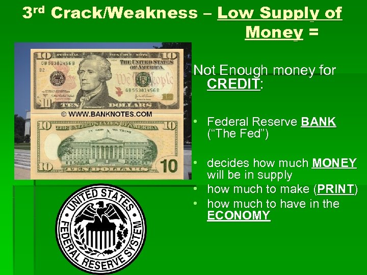 3 rd Crack/Weakness – Low Supply of Money = Not Enough money for CREDIT: