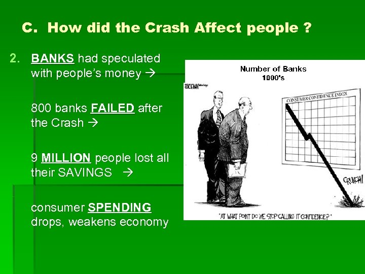 C. How did the Crash Affect people ? 2. BANKS had speculated with people's