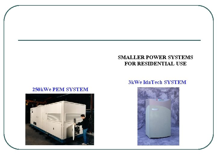 SMALLER POWER SYSTEMS FOR RESIDENTIAL USE 3 k. We Ida. Tech SYSTEM 250 k.