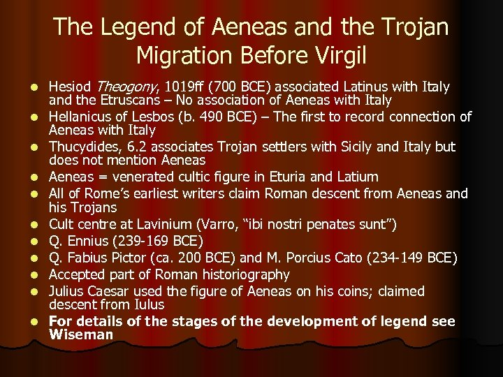 The Legend of Aeneas and the Trojan Migration Before Virgil l l Hesiod Theogony,