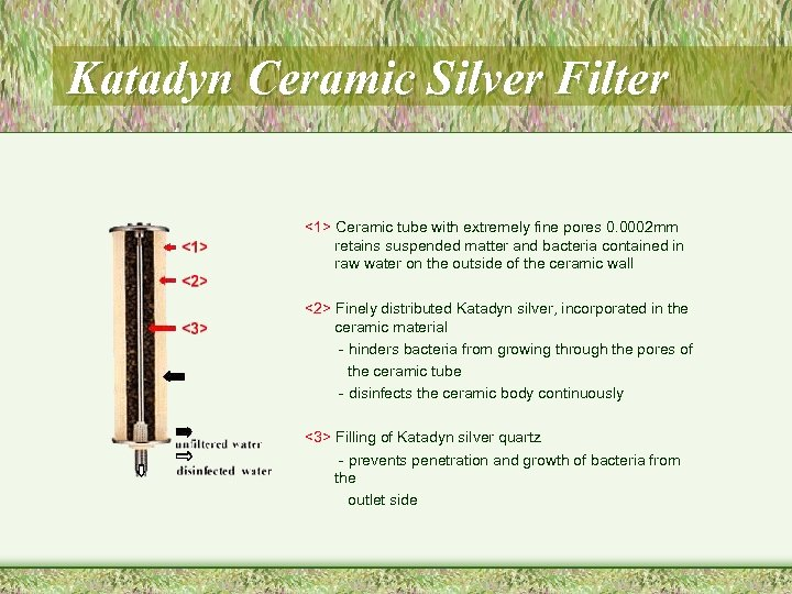 Katadyn Ceramic Silver Filter <1> Ceramic tube with extremely fine pores 0. 0002 mm