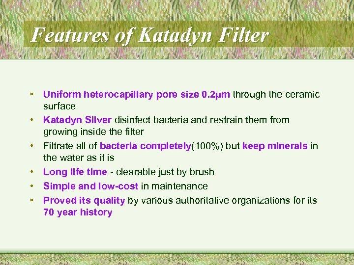 Features of Katadyn Filter • Uniform heterocapillary pore size 0. 2µm through the ceramic