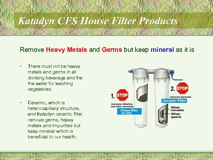 Katadyn CFS House Filter Products Remove Heavy Metals and Germs but keep mineral as