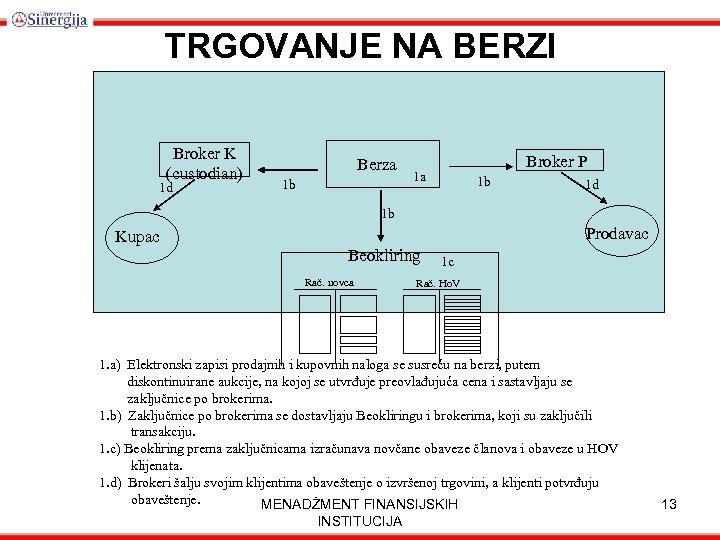 TRGOVANJE NA BERZI Broker K (custodian) 1 d Berza 1 b Broker P 1