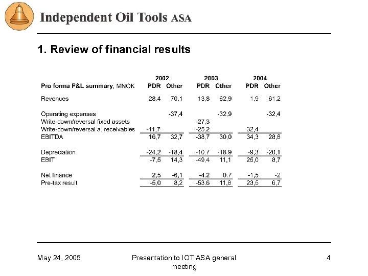 1. Review of financial results May 24, 2005 Presentation to IOT ASA general meeting