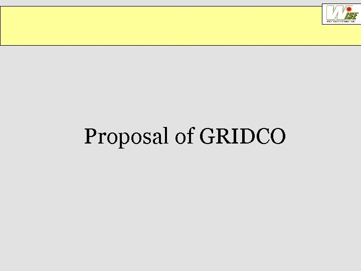 Proposal of GRIDCO