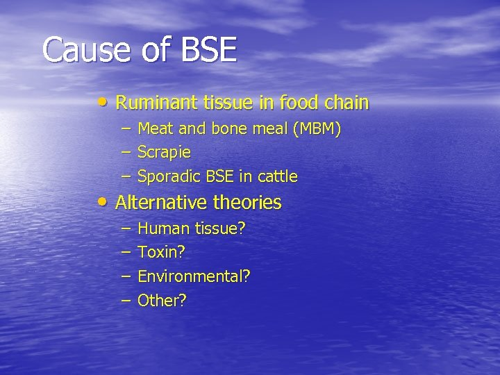 Cause of BSE • Ruminant tissue in food chain – – – Meat and