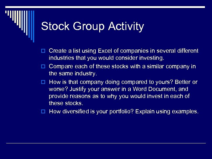 Stock Group Activity o Create a list using Excel of companies in several different