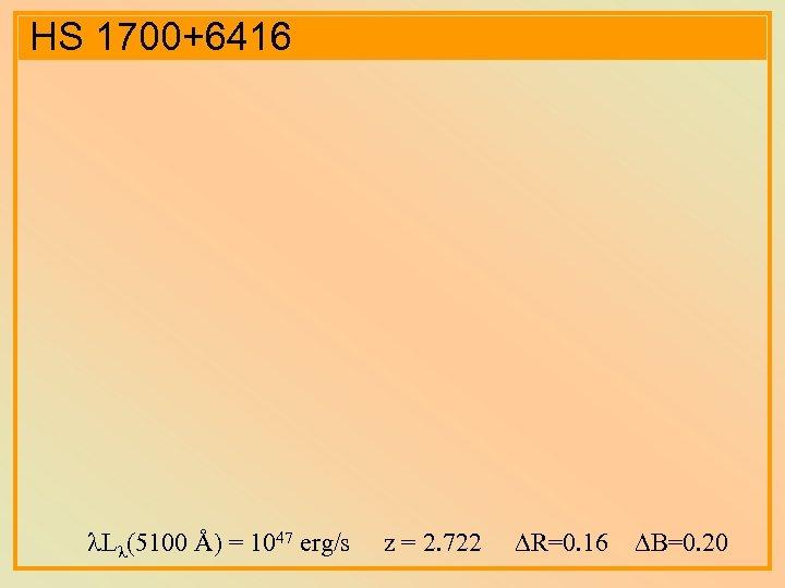 HS 1700+6416 L (5100 Å) = 1047 erg/s z = 2. 722 R=0. 16