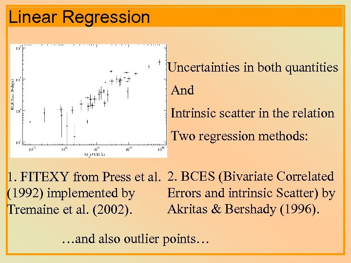 Linear Regression Uncertainties in both quantities And Intrinsic scatter in the relation Two regression
