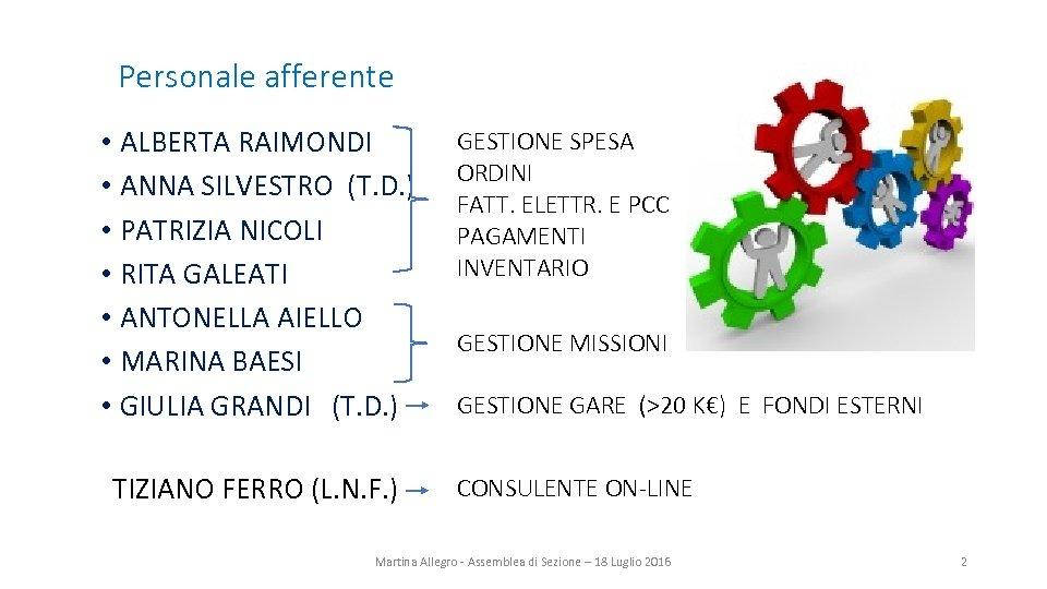 Personale afferente • ALBERTA RAIMONDI • ANNA SILVESTRO (T. D. ) • PATRIZIA NICOLI