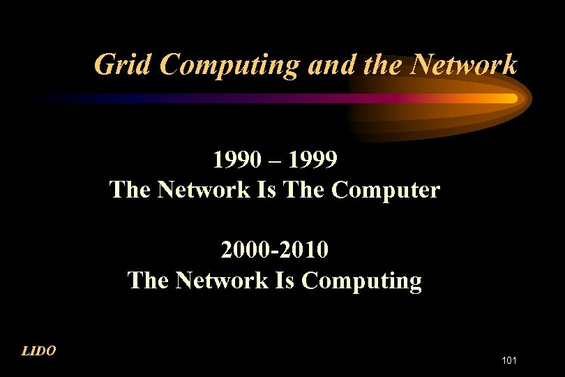 Grid Computing and the Network 1990 – 1999 The Network Is The Computer 2000