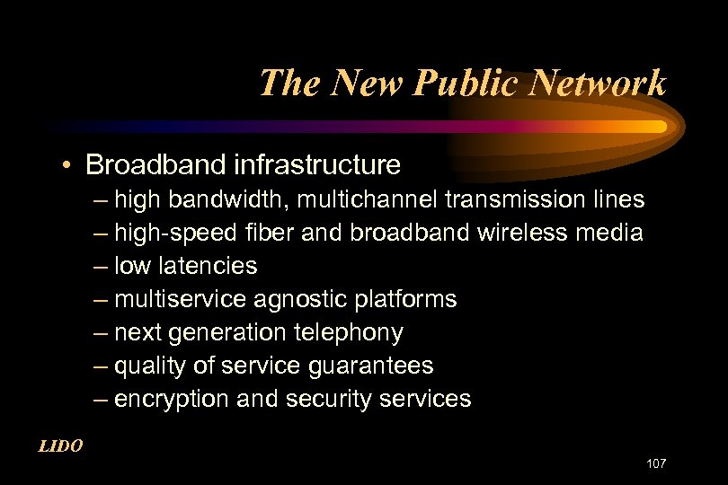 The New Public Network • Broadband infrastructure – high bandwidth, multichannel transmission lines –