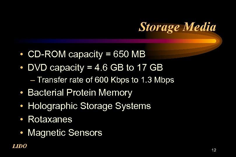Storage Media • CD-ROM capacity = 650 MB • DVD capacity = 4. 6