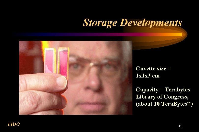 Storage Developments Cuvette size = 1 x 1 x 3 cm Capacity = Terabytes