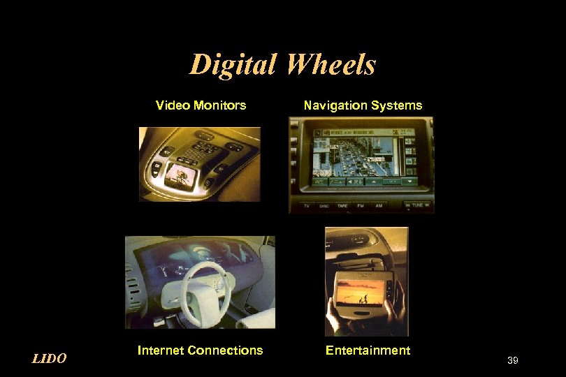 Digital Wheels Video Monitors LIDO Internet Connections Navigation Systems Entertainment 39