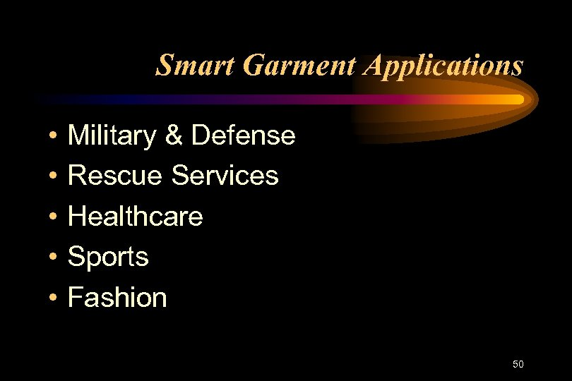Smart Garment Applications • • • Military & Defense Rescue Services Healthcare Sports Fashion
