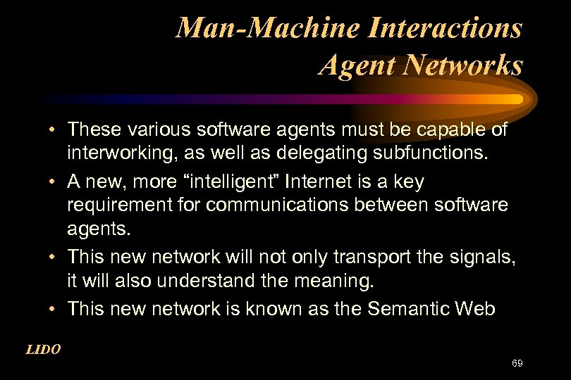Man-Machine Interactions Agent Networks • These various software agents must be capable of interworking,