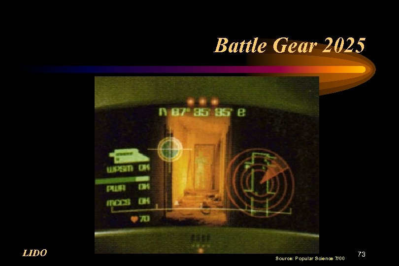 Battle Gear 2025 LIDO Source: Popular Science 7/00 73