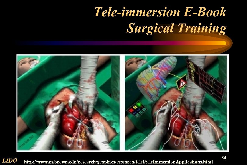 Tele-immersion E-Book Surgical Training LIDO http: //www. cs. brown. edu/research/graphics/research/telei/tele. Immersion. Applications. html 84