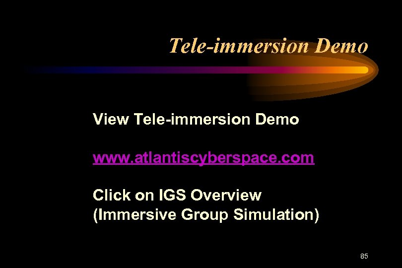 Tele-immersion Demo View Tele-immersion Demo www. atlantiscyberspace. com Click on IGS Overview (Immersive Group