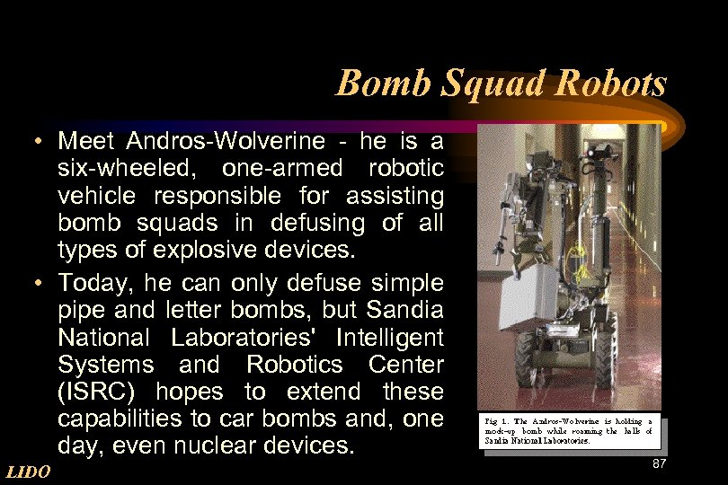 Bomb Squad Robots • Meet Andros-Wolverine - he is a six-wheeled, one-armed robotic vehicle