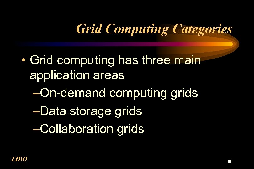 Grid Computing Categories • Grid computing has three main application areas –On-demand computing grids