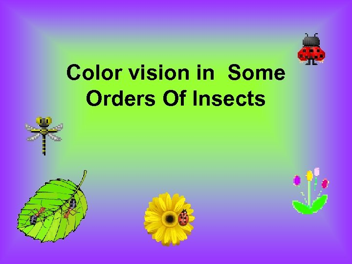 Color vision in Some Orders Of Insects
