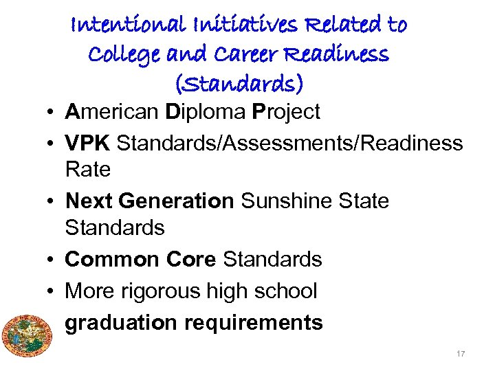 Intentional Initiatives Related to College and Career Readiness (Standards) • American Diploma Project •