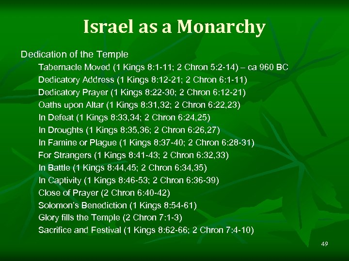 Israel as a Monarchy Dedication of the Temple Tabernacle Moved (1 Kings 8: 1