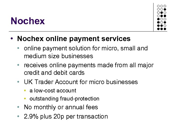 Nochex • Nochex online payment services • online payment solution for micro, small and