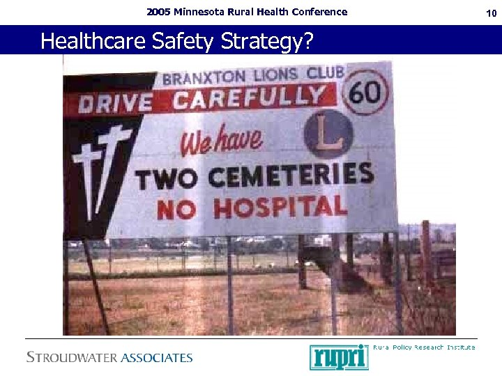 2005 Minnesota Rural Health Conference Healthcare Safety Strategy? 10