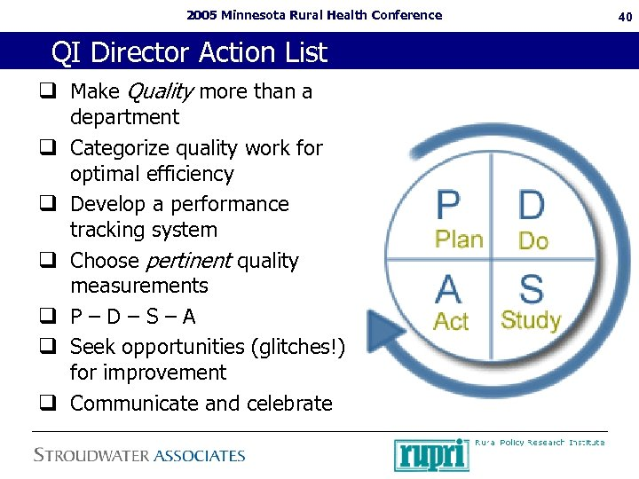 2005 Minnesota Rural Health Conference QI Director Action List q Make Quality more than