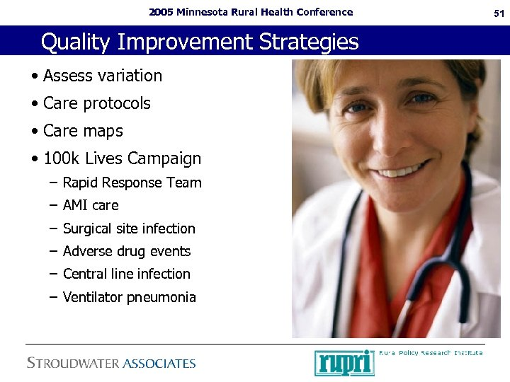 2005 Minnesota Rural Health Conference Quality Improvement Strategies • Assess variation • Care protocols