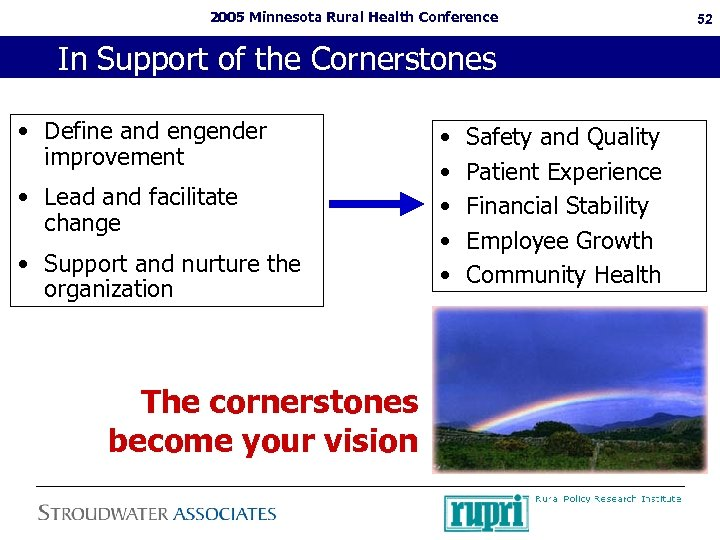 2005 Minnesota Rural Health Conference In Support of the Cornerstones • Define and engender