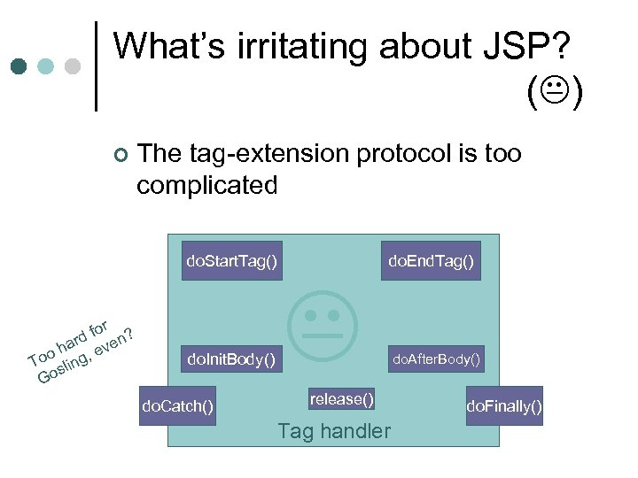 What's irritating about JSP? ( ) ¢ The tag-extension protocol is too complicated do.