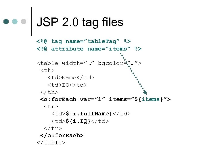"JSP 2. 0 tag files <%@ tag name=""table. Tag"" %> <%@ attribute name=""items"" %>"