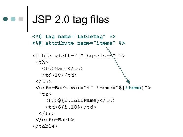 "JSP 2. 0 tag files <%@ tag name=""table. Tag"" %> <%@ attribute name=""items"" %>"