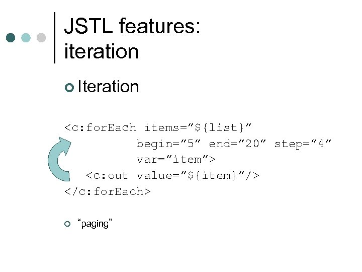 "JSTL features: iteration ¢ Iteration <c: for. Each items=""${list}"" begin="" 5"" end="" 20"" step="""