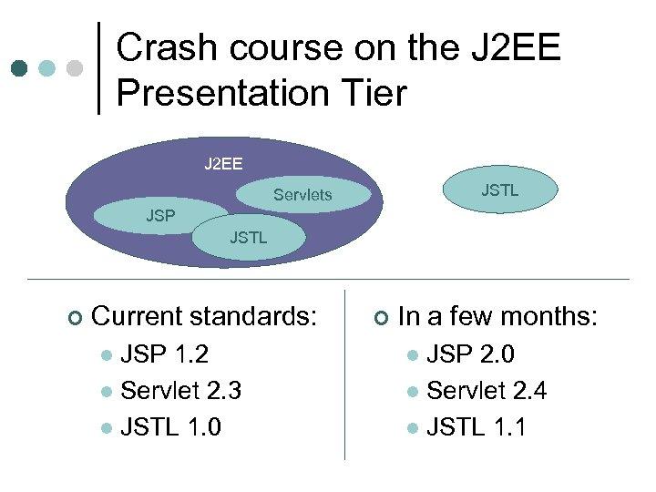Crash course on the J 2 EE Presentation Tier J 2 EE JSTL Servlets
