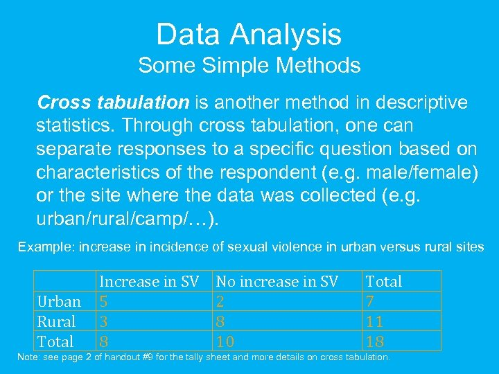 Data Analysis Some Simple Methods Cross tabulation is another method in descriptive statistics. Through